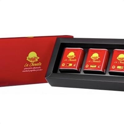 Coffret cadeau paprika fumé, doux, medium et fort, 3X70gr, La Chinata