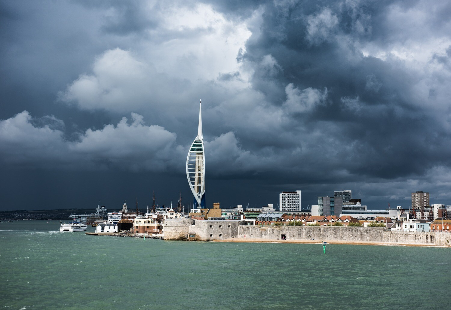 """Emirates Spinnaker Tower and Portsmouth skyline - 12"""" x 8"""" in a black 16"""" x 12"""" mount"""