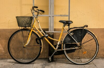 "Orange bike - 12"" x 8"" in a black 16"" x 12"" mount"