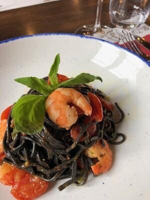Tagliolini nero seppia w/shrimps