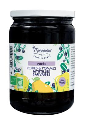 Purée de Pommes / Poires /Myrtilles sauvages 550g