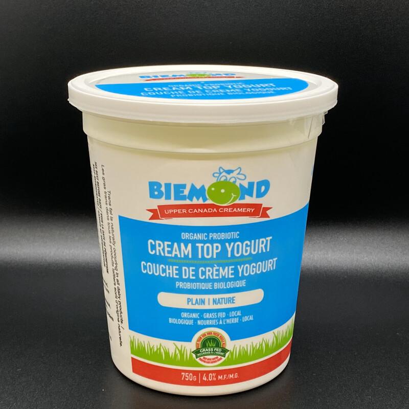 Biemond Upper Canada Creamery - 750ml - Plain Cream Top Yogurt