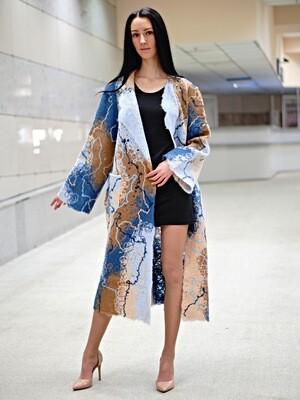 Легкое шерстяное пальто, большой размер