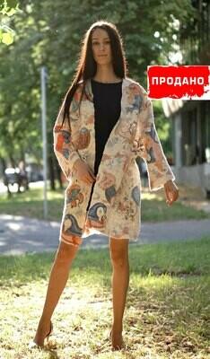 Летний кардиган – пальто с принтом