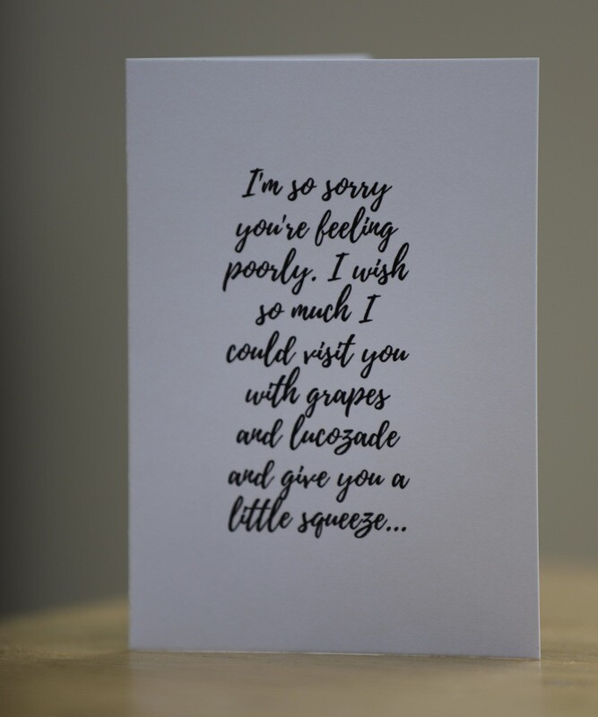 'Sorry You're Poorly' Card