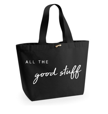 Large Black Organic Cotton Tote Bag