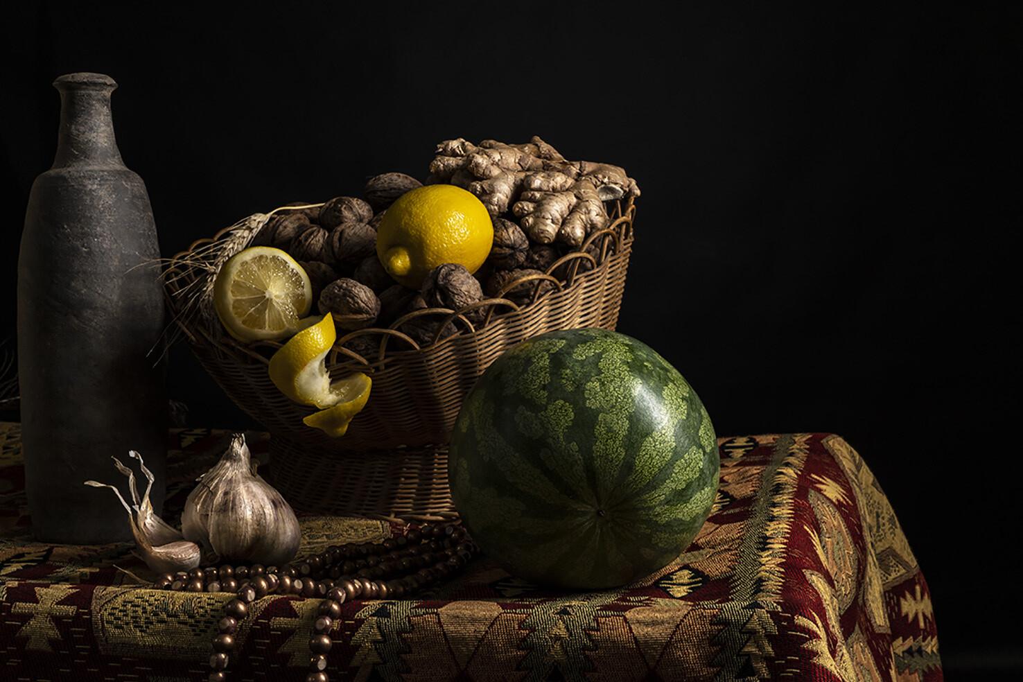 Citrons, pastèque & noix
