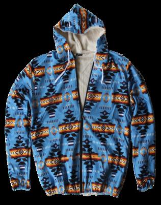 3D Navajo Design-Sherpa Filled Jacket-Turquoise