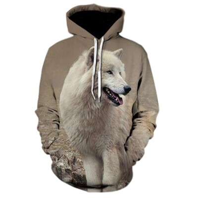 3D Hoodie-White Wolf