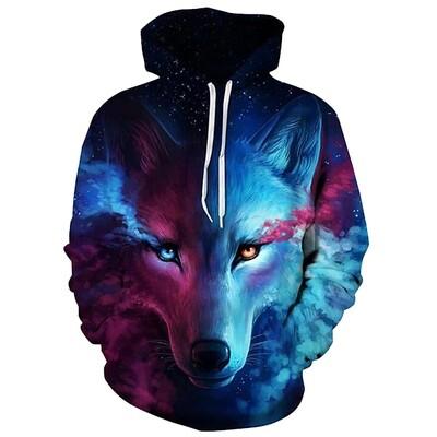 3D Hoodie-Wolf Purple/Blue