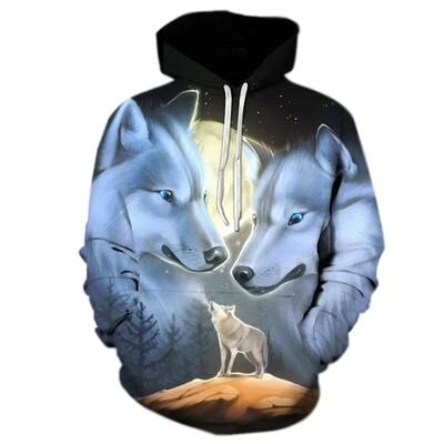 3D Hoodie-Wolves Blue