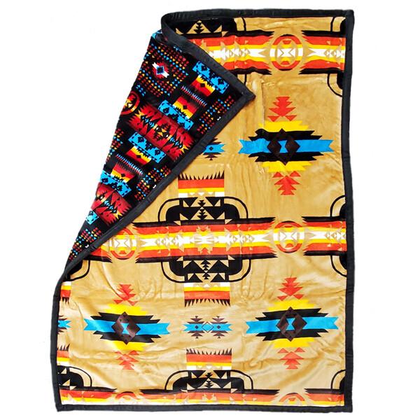 Blanket-Plush-Navajo Design - Tan