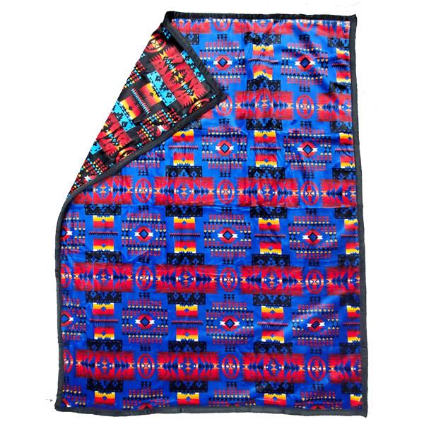 Blanket-Plush-Navajo Design - Blue