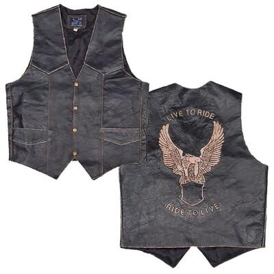 Leather Vest - Eagle Embroidered