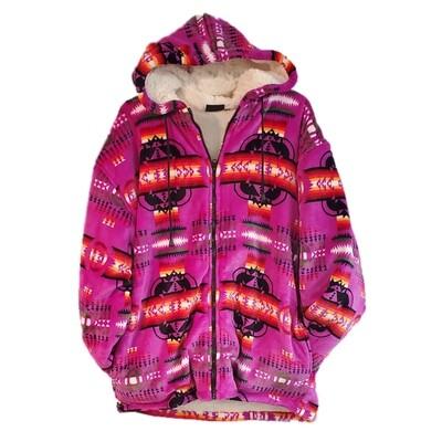 Navajo Design-Sherpa Coat-Pink