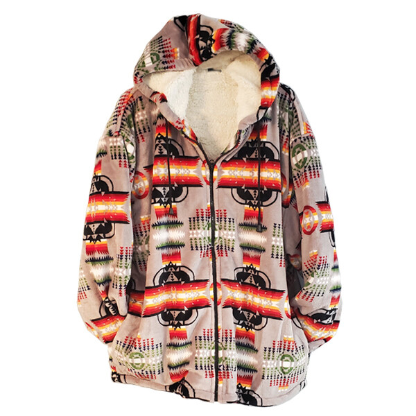 Navajo Design-Sherpa Coat-Grey
