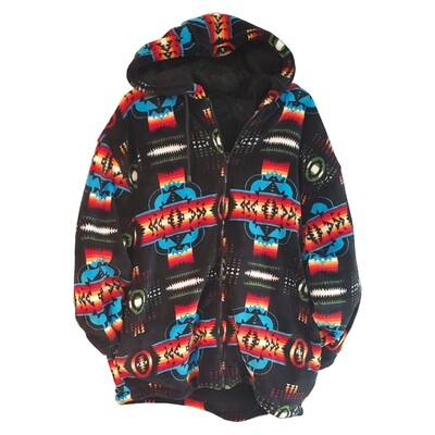 Navajo Design-Sherpa Coat-Black