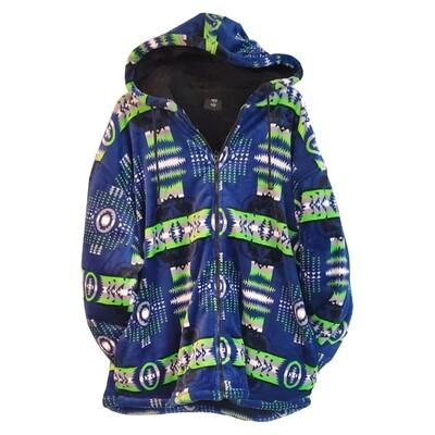 Navajo Design-Sherpa Coat-Blue