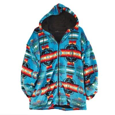 Navajo Design-Sherpa Coat-Turquoise