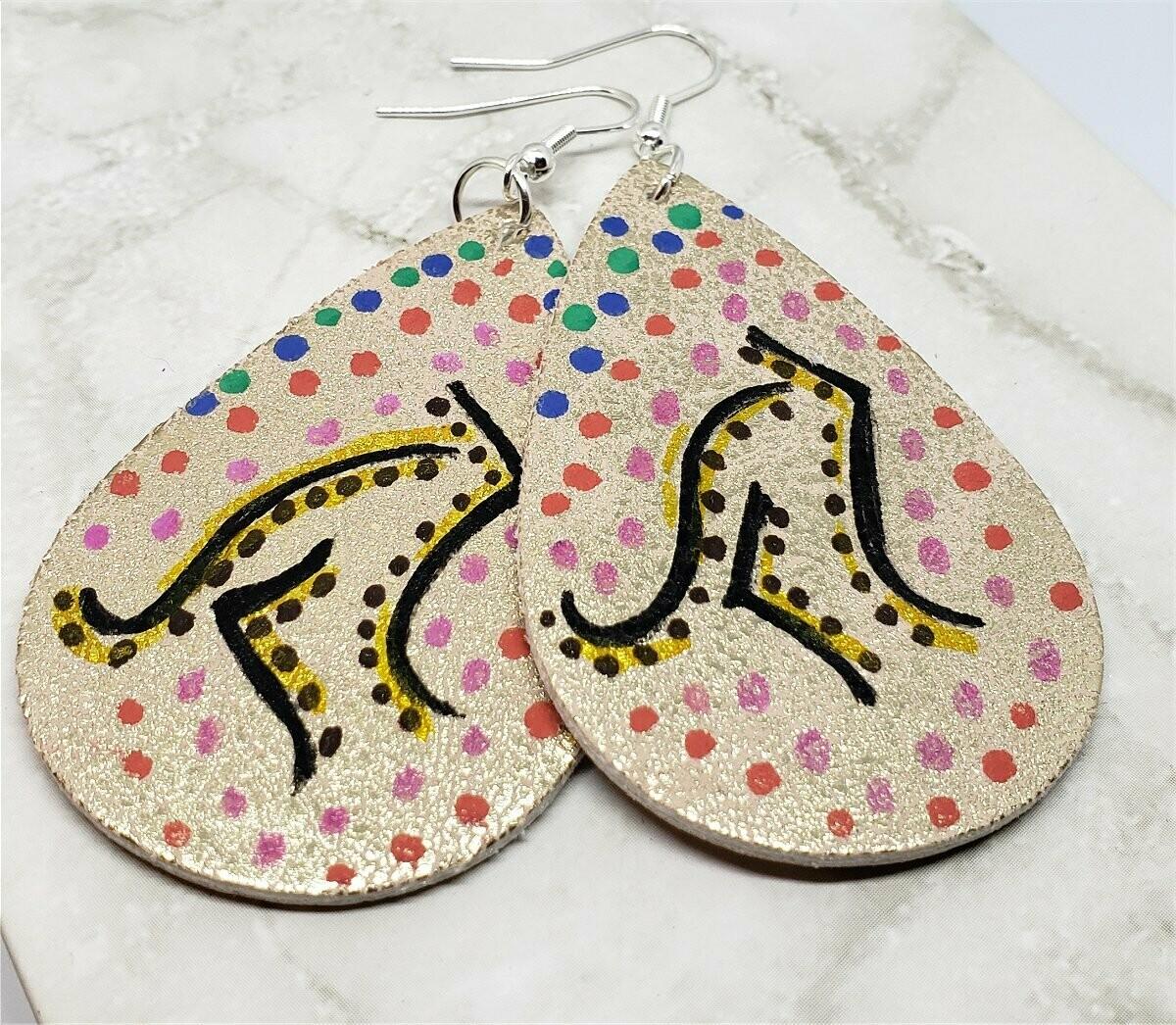 Aboriginal Style Art Hand Painted Kangaroo FAUX Leather Distressed Metallic Teardrop Shaped Earrings