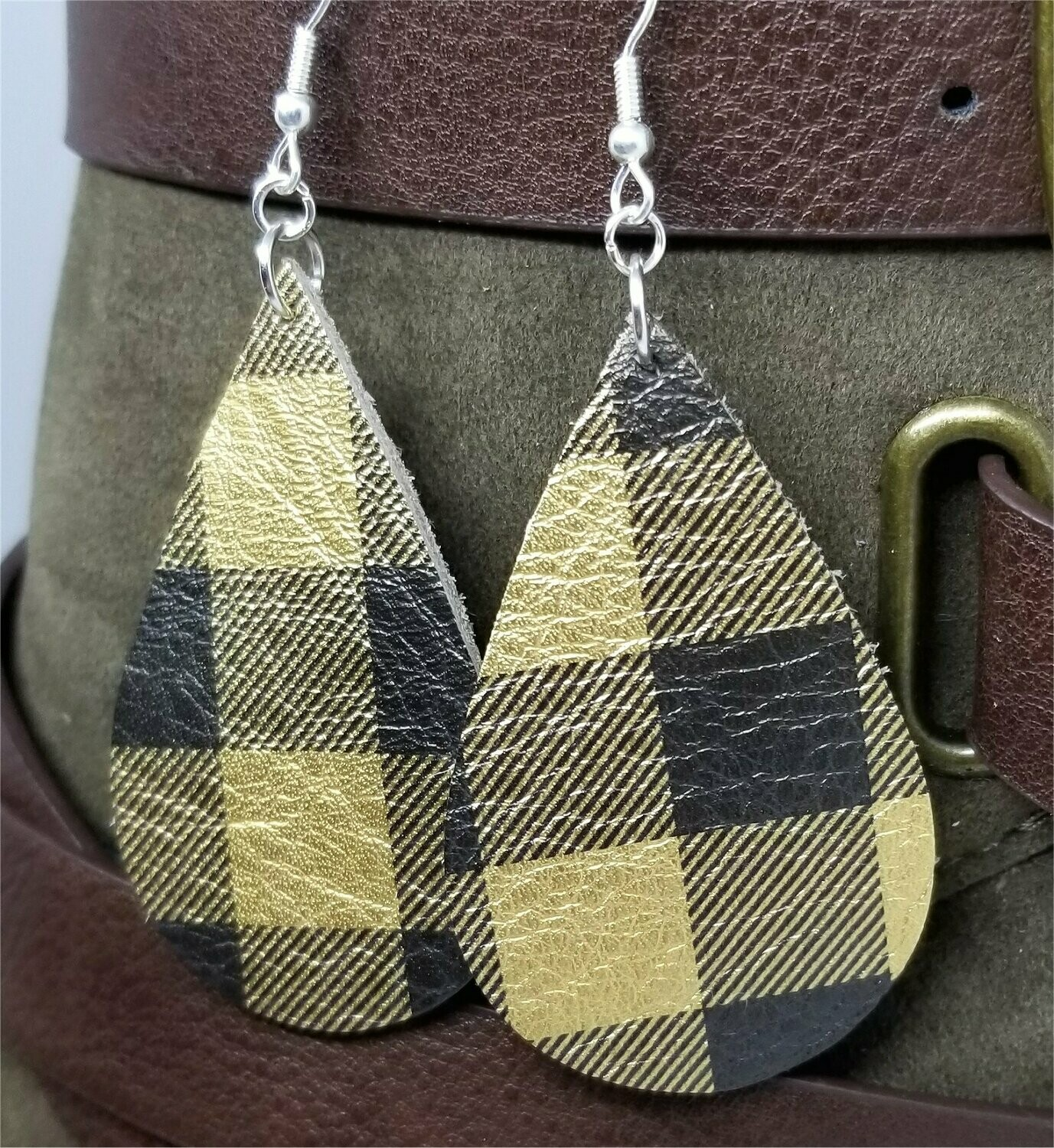 Black and Metallic Gold Plaid Teardrop Earrings with Surgical Steel Earwires
