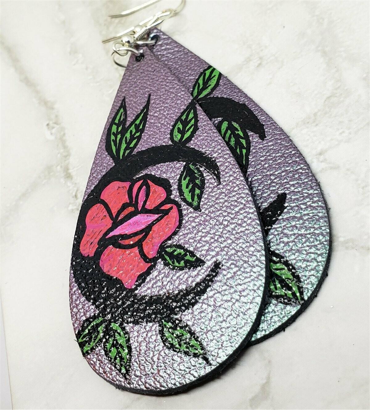 Metallic Color Shifting Teardrop Earrings with a Hand Painted Flower Moon OOAK
