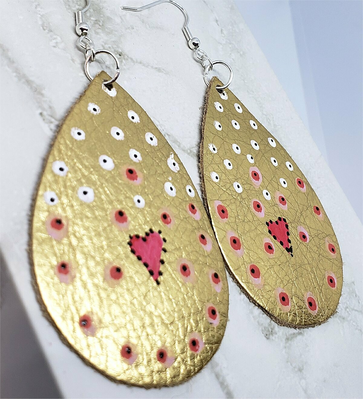 Aboriginal Style Dot Art Hand Painted Metallic Gold Real Leather Teardrop Shaped Earrings