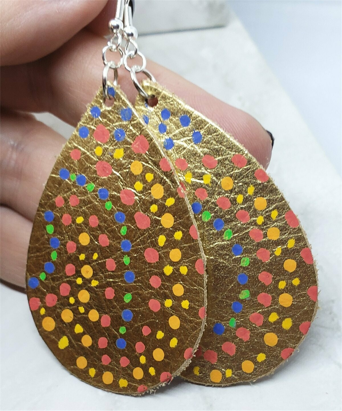 Aboriginal Style Dot Art Hand Painted Real Leather Metallic Gold Teardrop Shaped Earrings