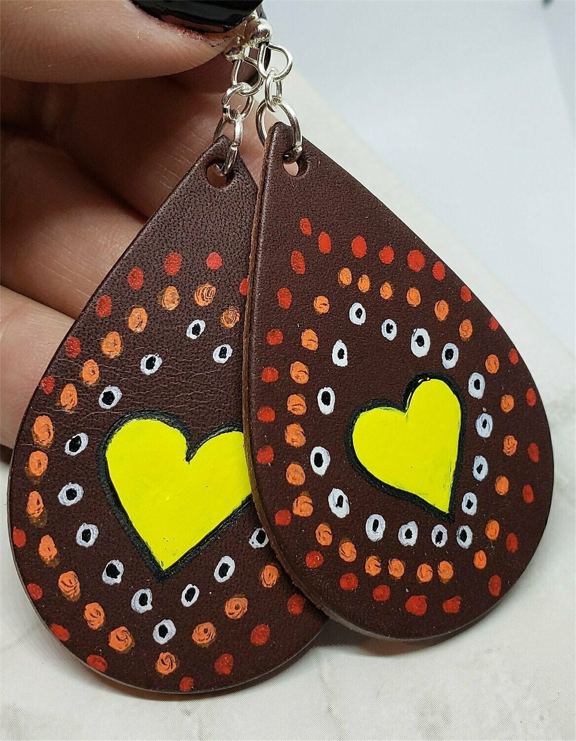 Aboriginal Style Dot Art Hand Painted Vegetable Tanned Real Brown Leather Teardrop Shaped Earrings