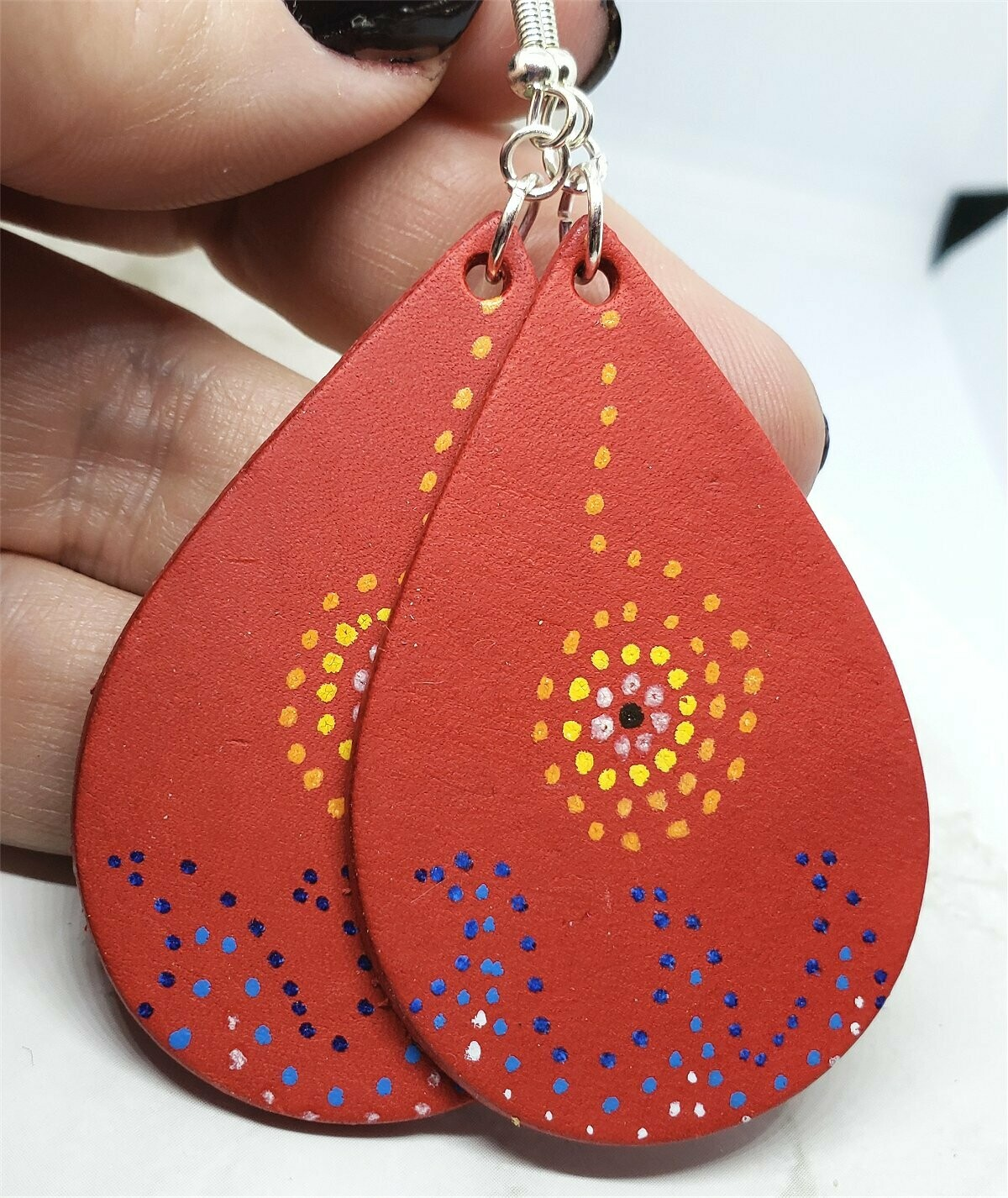 Aboriginal Style Dot Art Hand Painted Vegetable Tanned Real Red Leather Teardrop Shaped Earrings