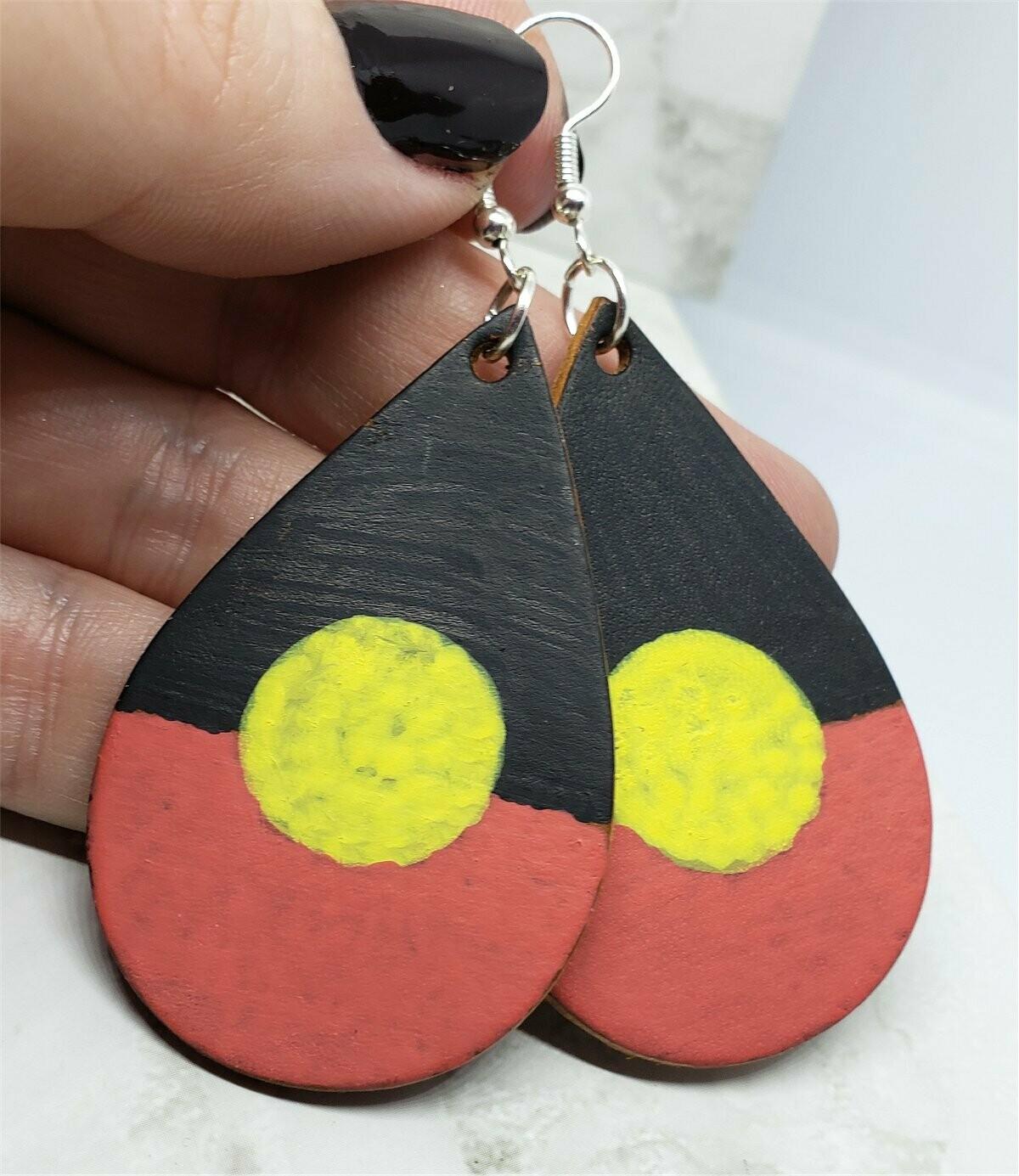 Australian Aboriginal Flag Real Leather Teardrop Shaped Earrings