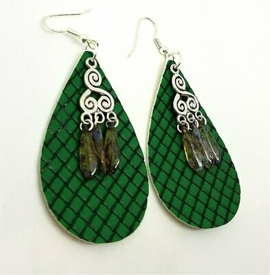 Basket Weave Embossed Green Teardrop Real Leather Earrings with Picasso Glass Bead Dangles