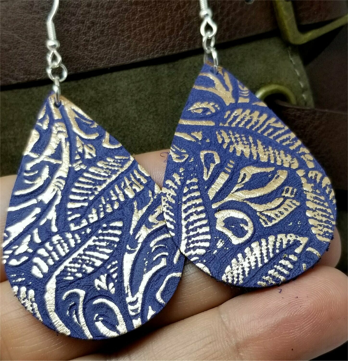 Beautifully Embossed Blue and Bronze Teardrop Shaped Leather Earrings
