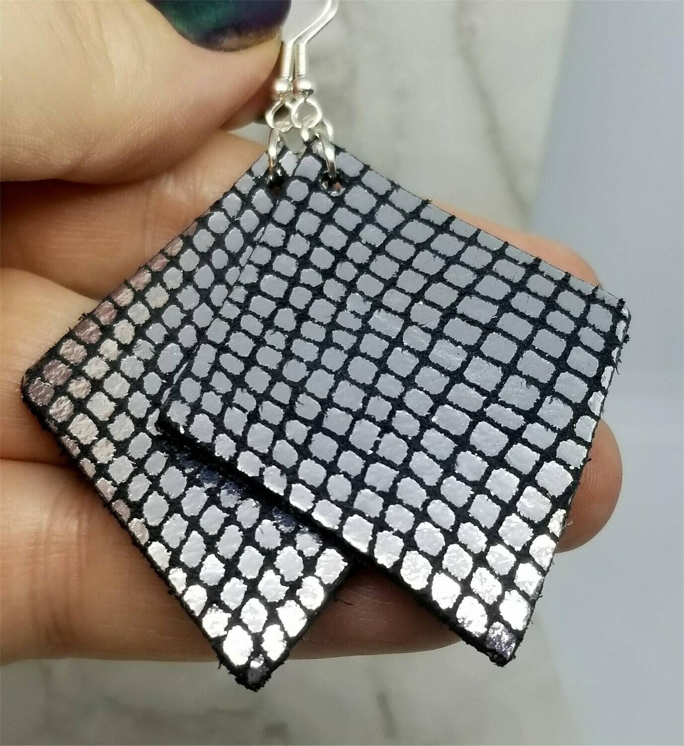 Black and Silver Diamond Shaped Real Leather Earrings