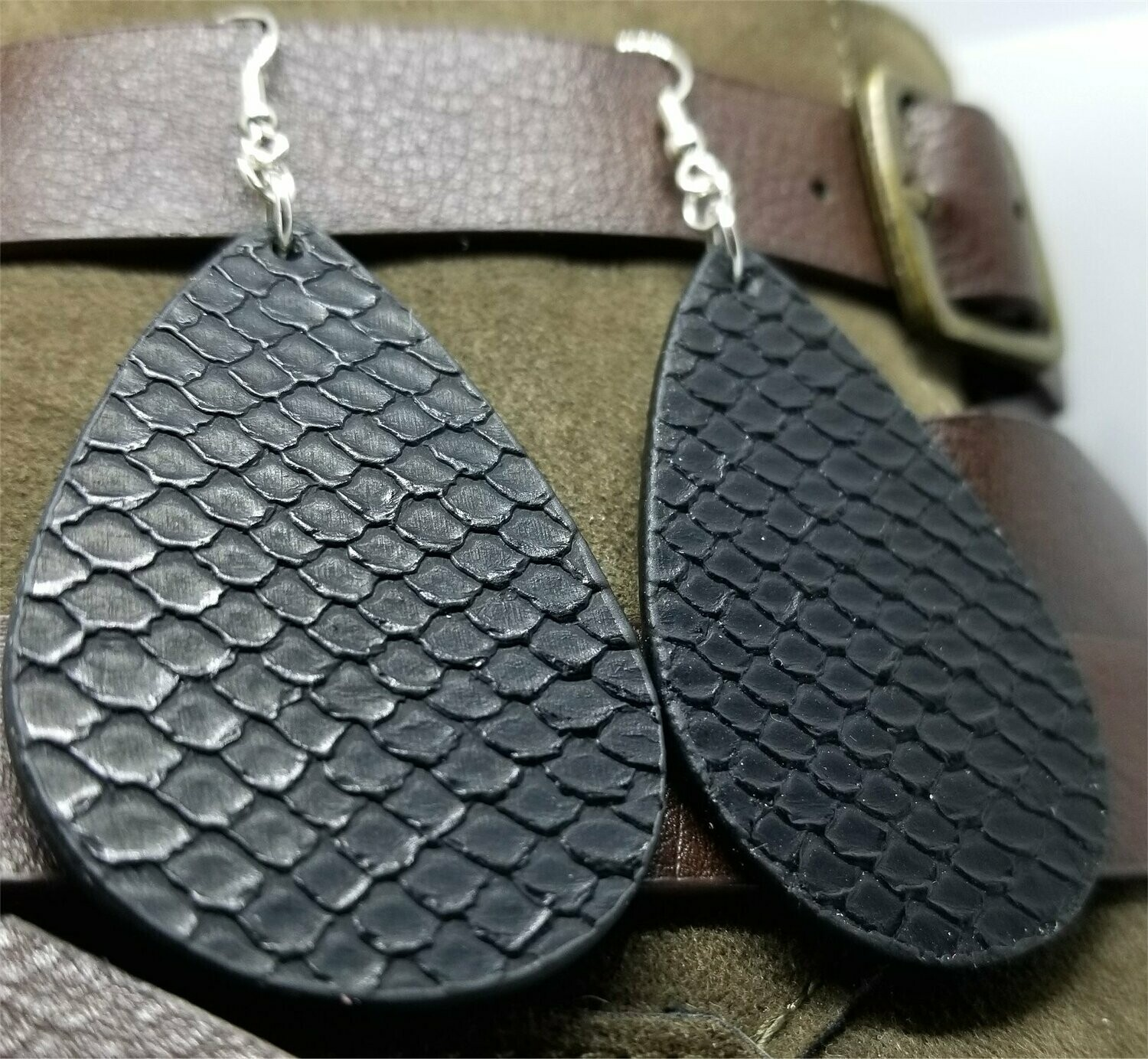 Black FAUX Leather Textured Earrings with Surgical Steel Earwires