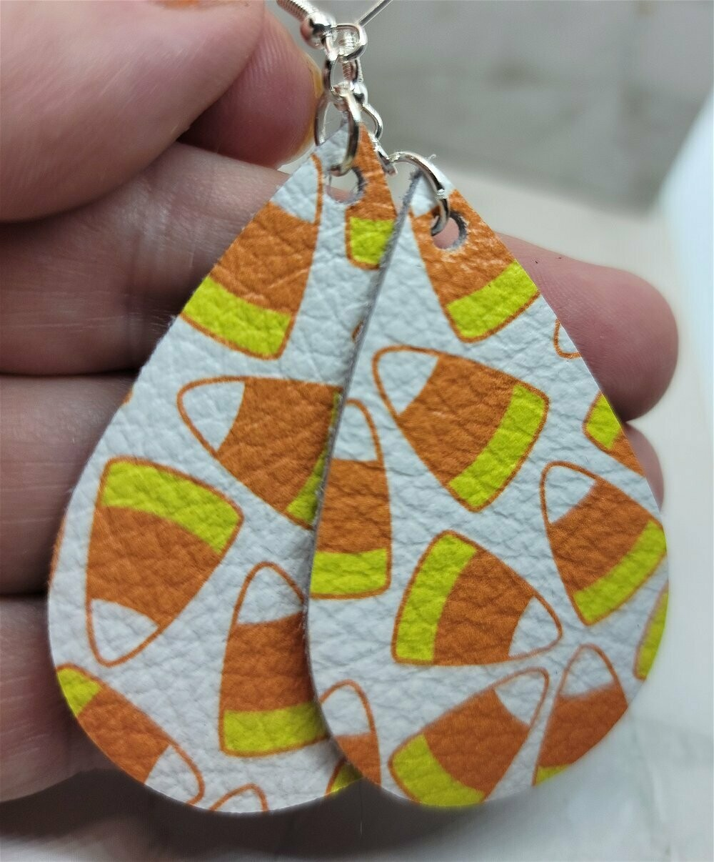 Candy Corn Printed White Real Leather Teardrop Earrings