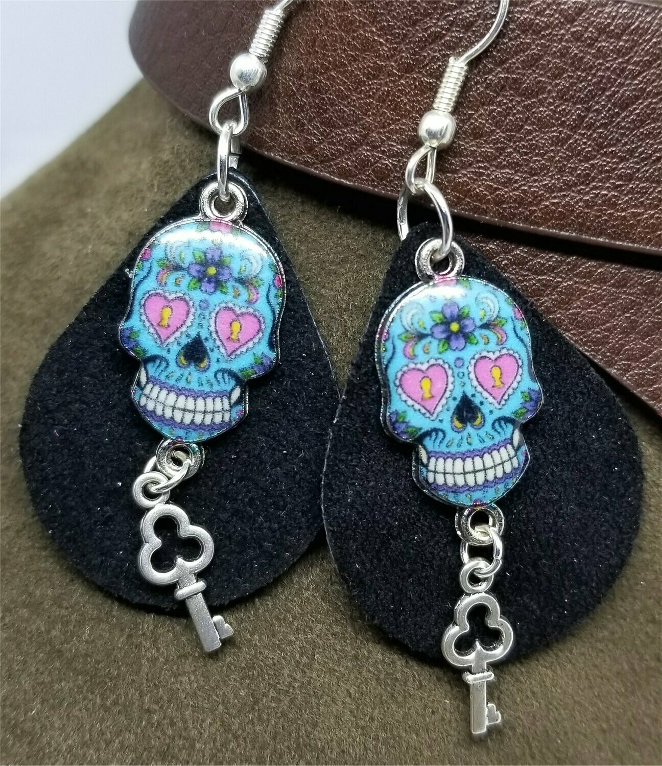 Black Teardrop Suede Leather Earrings with Blue Skull Charms and Silver Key Charm Dangles