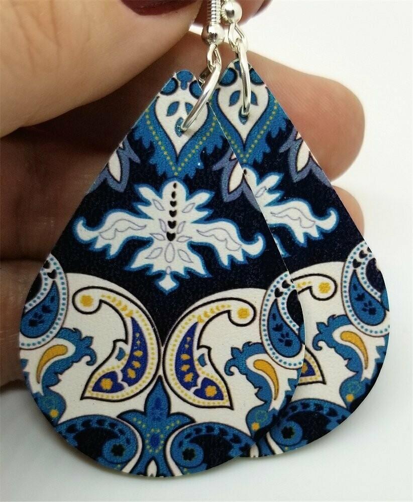 Black with Blue Paisley Pattern FAUX Leather Teardrop Earrings