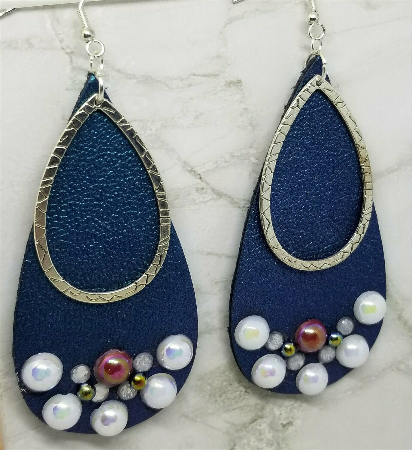 Blue Elongated Teardrop Shaped Real Leather Earrings with Teardrop Overlay and Pearl Rhinestone Embellishments