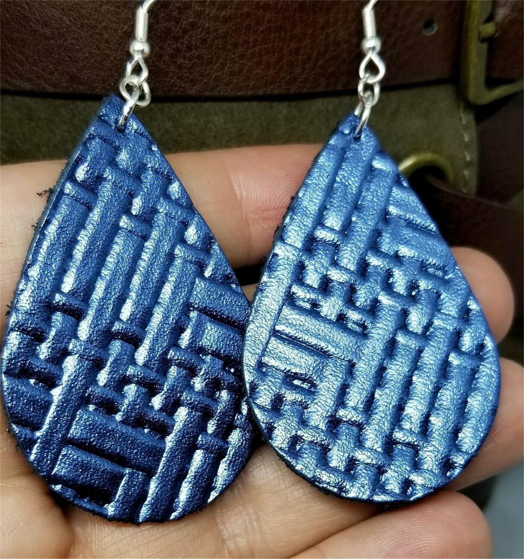 Blue Metallic Embossed with Basket Weave Texture Teardrop Shaped Leather Earrings