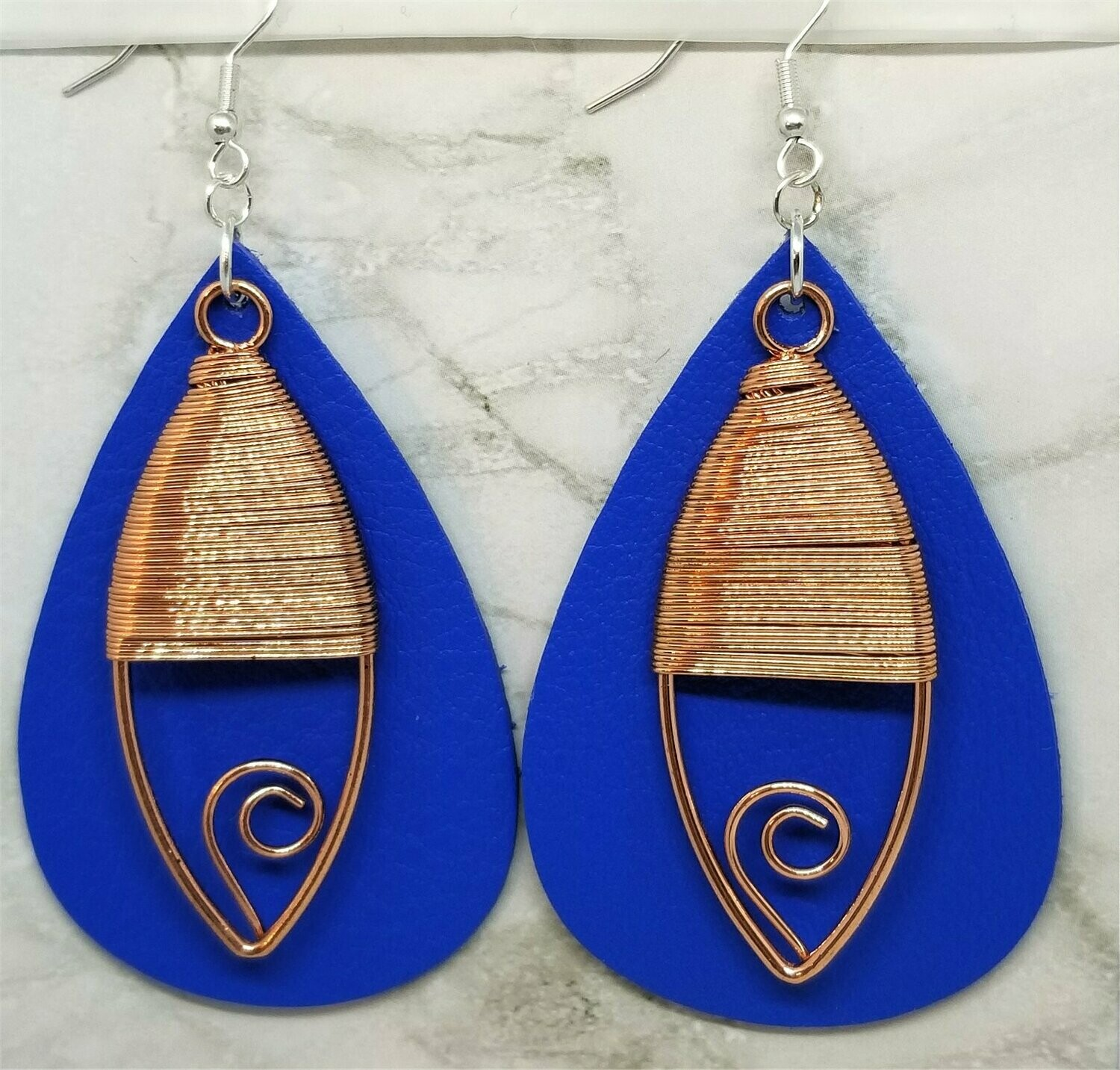 Blue Real Leather Earrings with Wire Wrapped Copper Oval Overlay