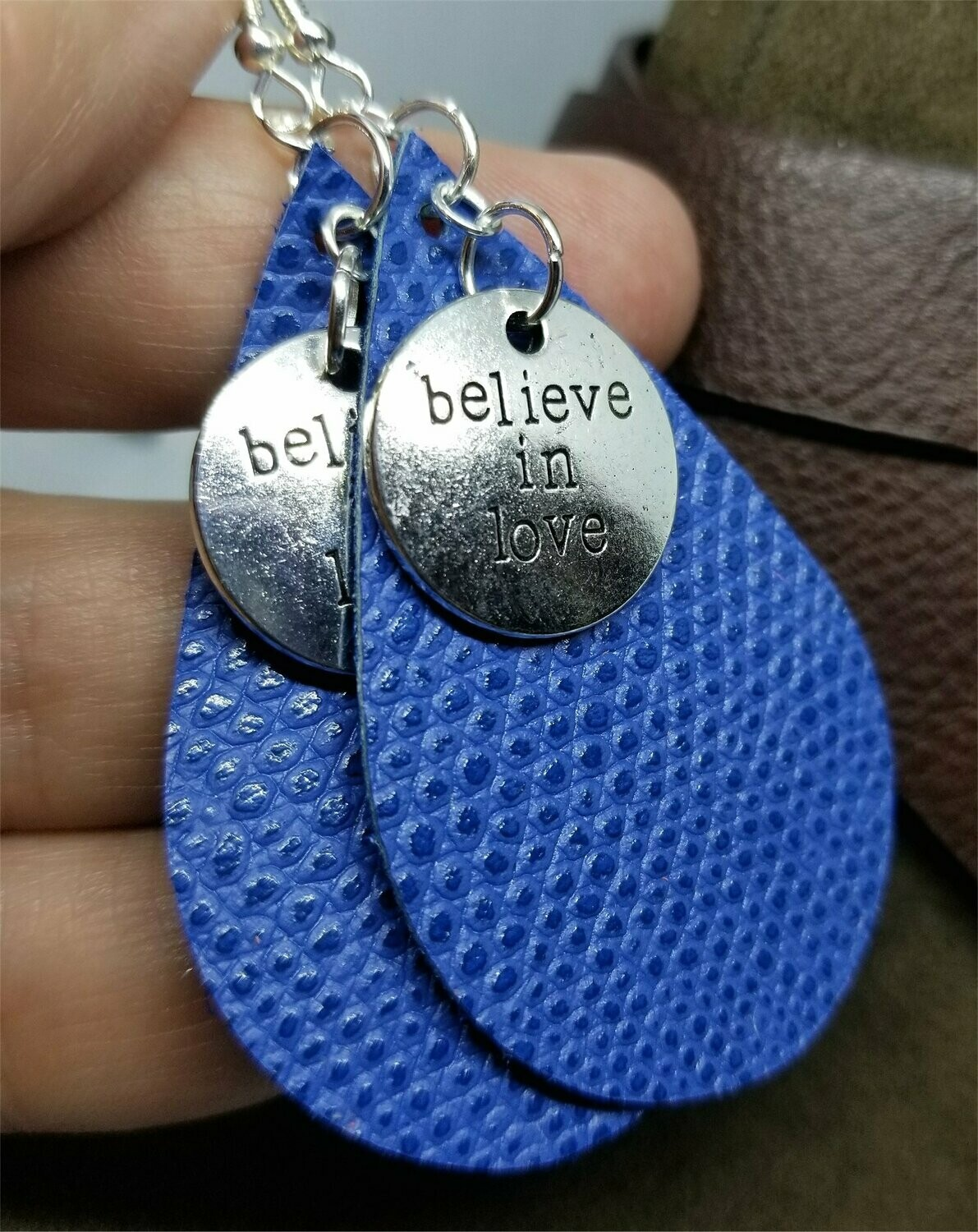 Blue Scale Real Leather Earrings with Believe In Love Charms