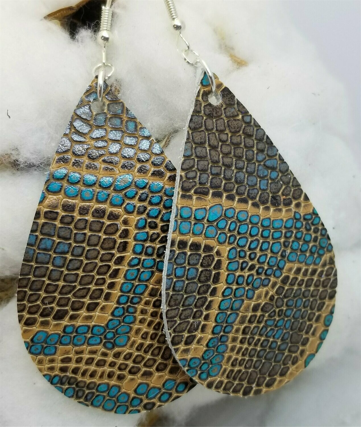 Brown and Turquoise Snakeskin Teardrop Shaped Real Leather Earrings
