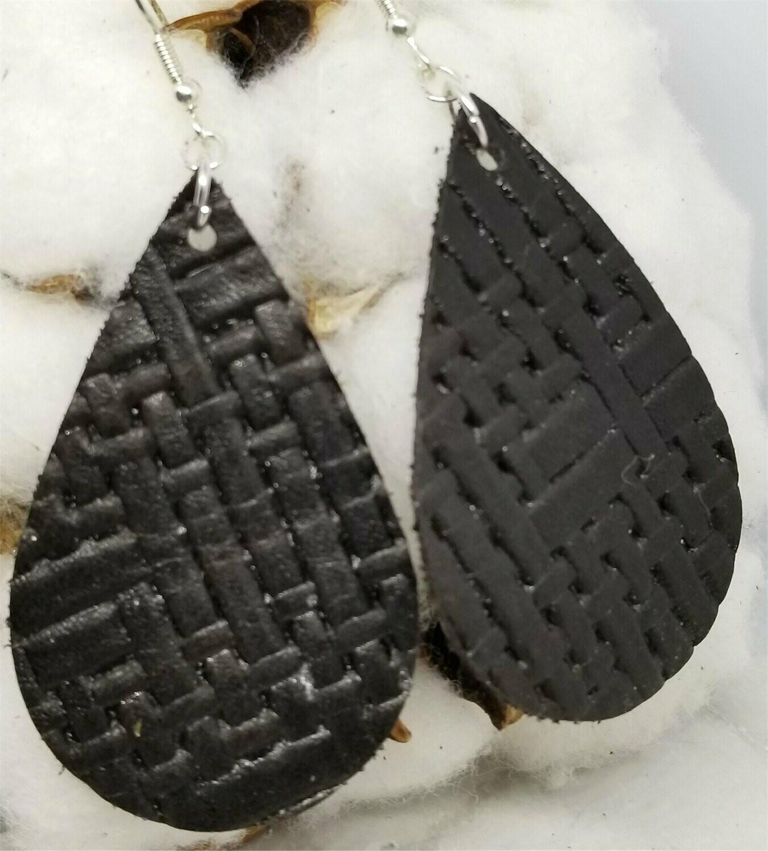 Brown Embossed with Basket Weave Texture Teardrop Shaped Real Leather Earrings