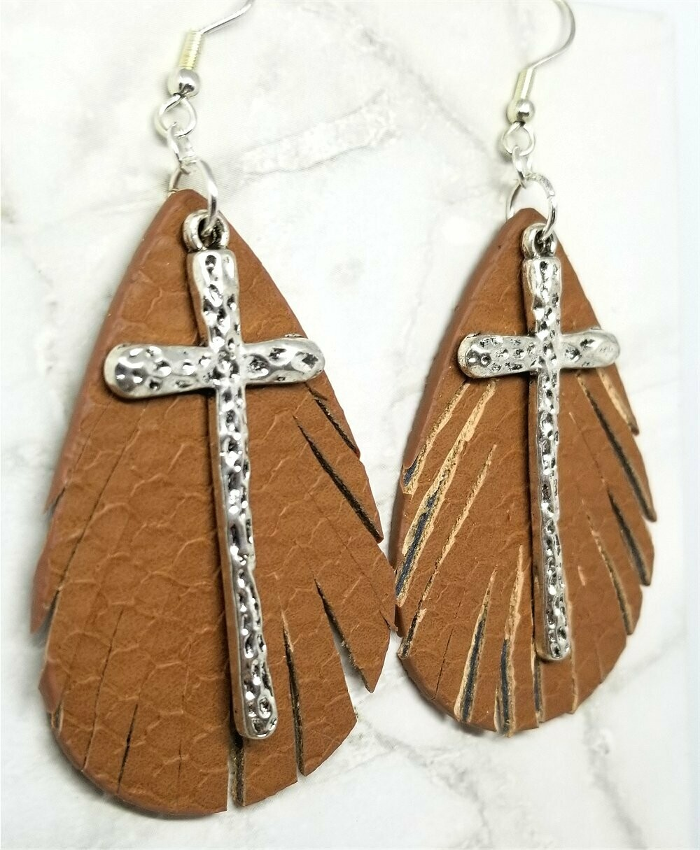 Brown Fringed Faux Leather Teardrop Shaped Earrings with a Large Cross Overlay