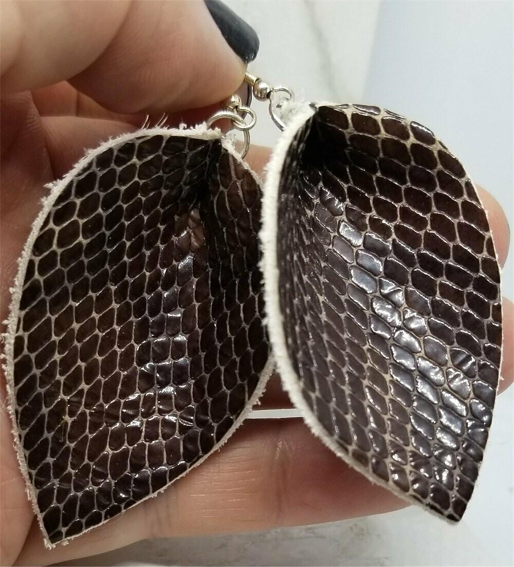 Brown Snakeskin Teardrop Leaf Shaped Real Leather Earrings