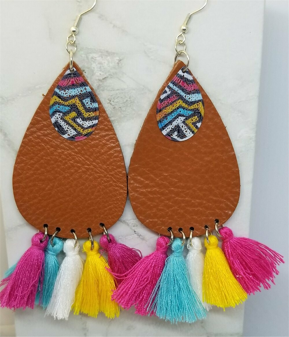 Brown Tear Drop Shaped Real Leather Earrings with String Tassels and Graffiti Style Metal Overlay