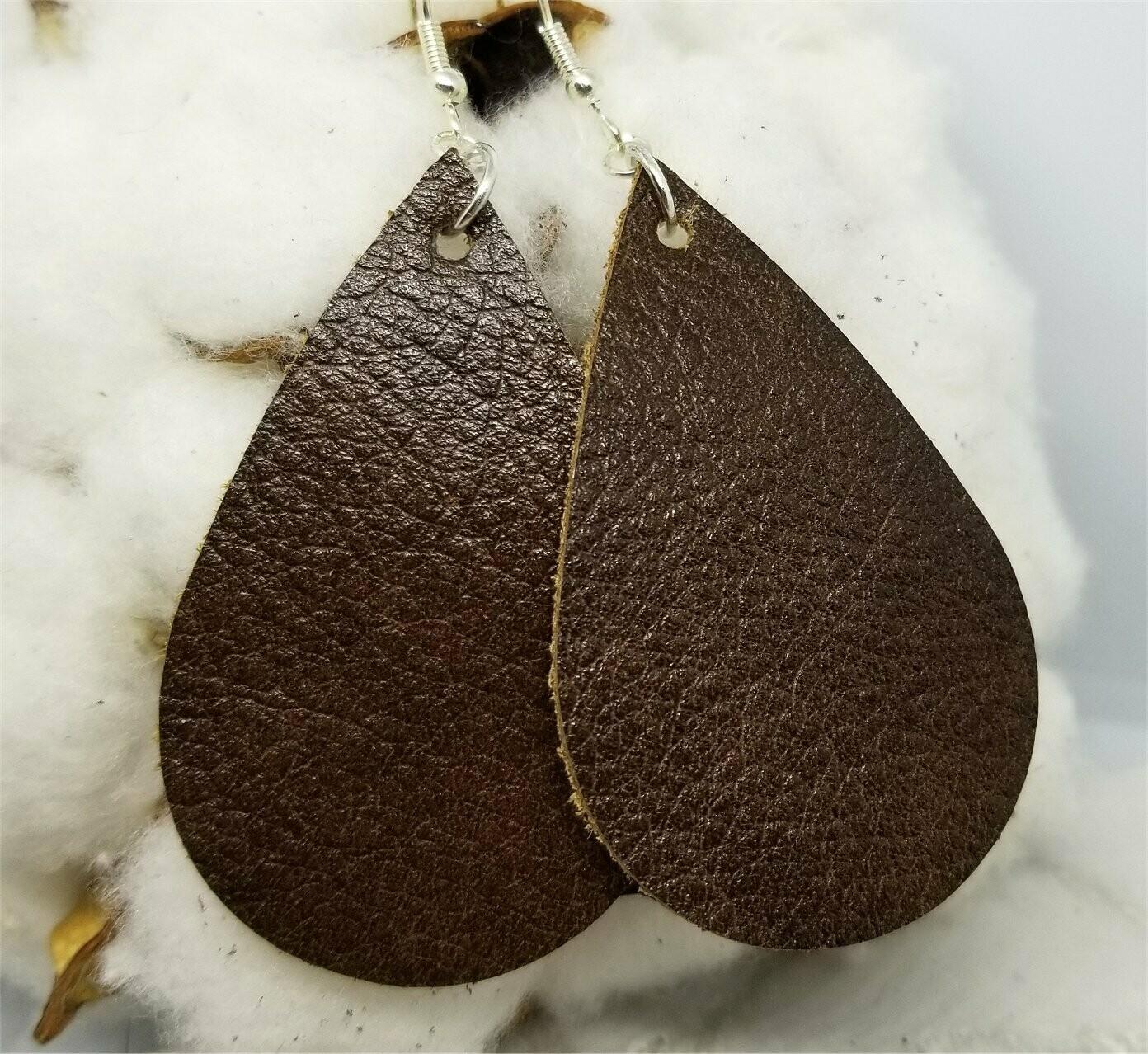 Brown Teardrop Shaped Real Leather Earrings
