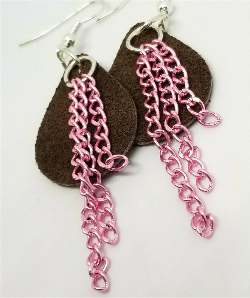Brown Teardrop Suede Leather Earrings with Pink Chain Dangles