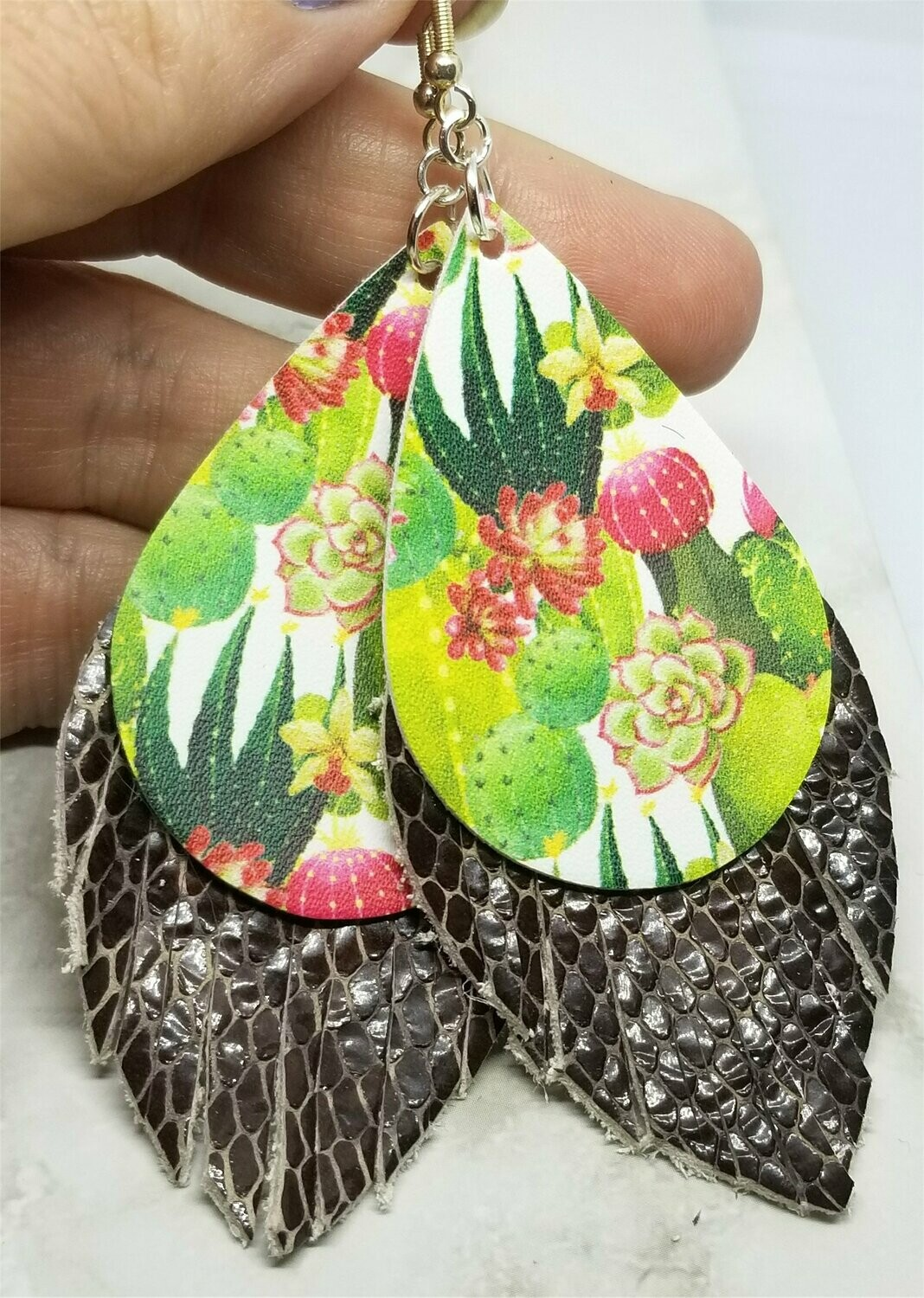 Cactus Faux Leather with Fringed Brown Scale Patterned Real Leather Earrings